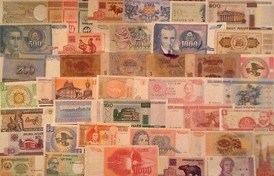 Assortment Of 40 X World Banknotes. All Different. Lot Of Old And New Notes