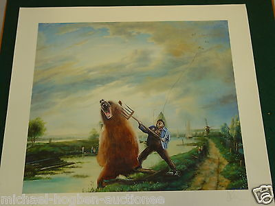 MAN AND BEAR FIGHT  .Vic Reeves  original ,SIGNED PRINT from Edition of only 25