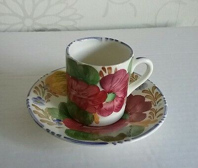 Simpsons Potters Cobridge Belle Fiore Solian Ware 1950s Coffee Can Cup & Saucer