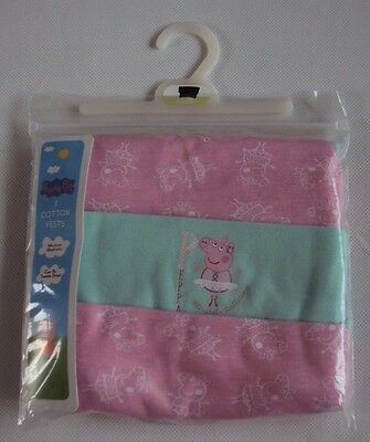 Peppa Pig Baby Girls Pink/Turquoise Ballet Ballerina Cotton Vests Set of 3 12/18