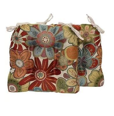 Set Of 2 Red Blue Green Beige Modern Floral Kitchen Dining Chair Pads Cushions