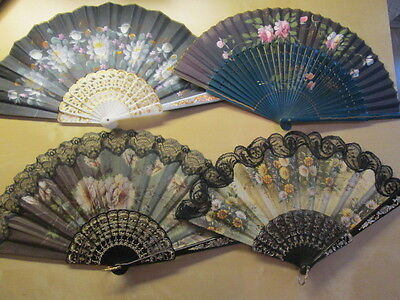 4 x Antique/Vintage HAND FANS Inc LACE, Hand Painted, Floral - Displayed Only