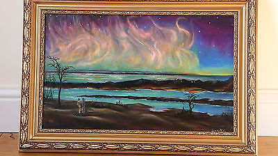 hand painted framed picture '' the northern light ''