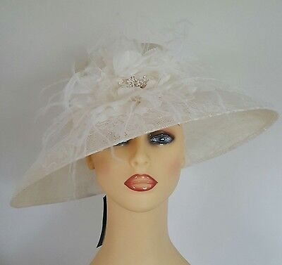 Ladies Wedding Races Mother Bride Ascot Hat Feathers Flower Lace Marks & Spencer