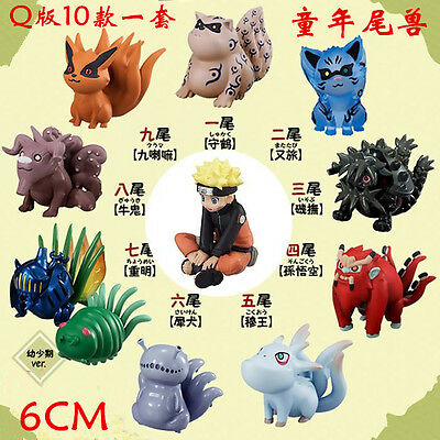 Anime Naruto Shippuden Uzumaki & Tailed Beast 10pcs/set PVC Figure No Box