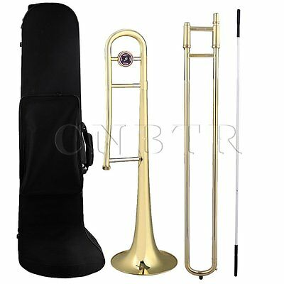 Golden Brass B Flat Bb Alto Trombone with Cleaning Rod & Carrying Case