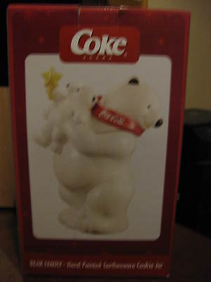 Coca-Cola Bear Family Hand-Painted Earthenware Cookie Jar