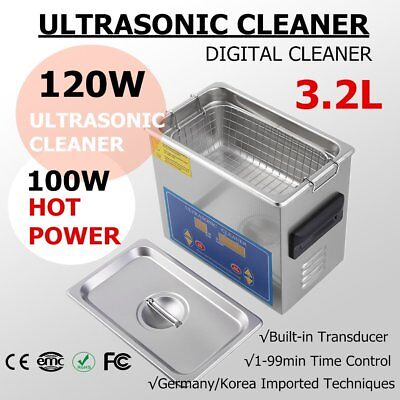 Stainless Steel 3.2L Liter Industry Heated Ultrasonic Cleaner Heater w/Timer MA