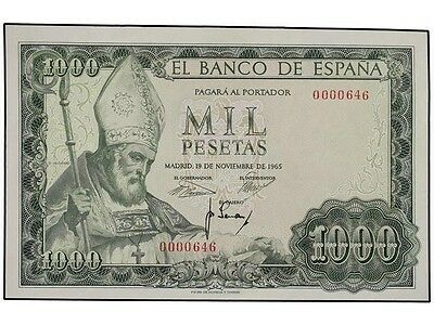 1000 Pesetas 1965   AU  No Serial  LOW NUMBER   SPAIN