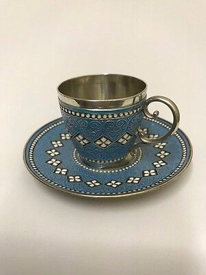 A SILVER NORWEGIAN CUP & SAUCER CLOISONNE ENAMEL CIRCA 1910 by DAVID ANDERSON