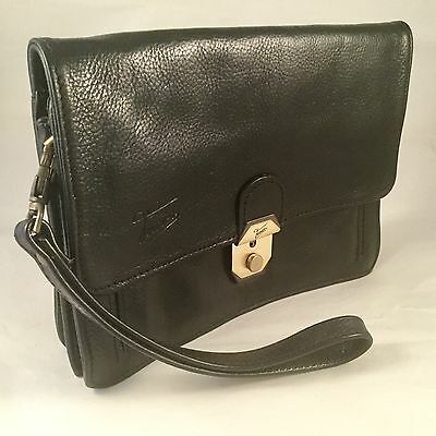 Texier Black Leather Travel Document Wallet Pouch Man Bag with strap