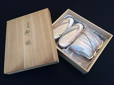 Authentic Japanese zori geisha sandals and bag, set, with box, UK size 5 (D1026)