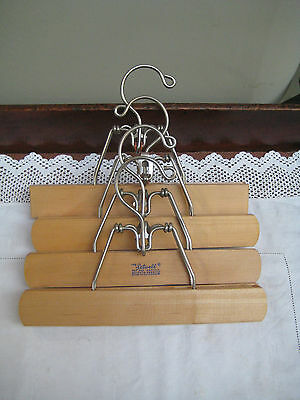 4 Vintage Wooden/Metal 'The Setwell' Trouser/Skirt Clothes Hangers