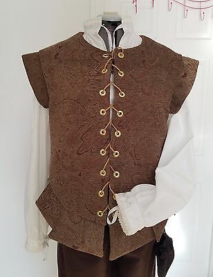 Renaissance Doublet (Lge) - Brown, Red & Gold Patterned Brocade w Gold Accents
