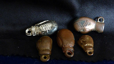 5 OF 1930s VINTAGE GUMBALL BOXING GLOVES PIN , HARRY GREB, 1 GOLDEN GLOVES