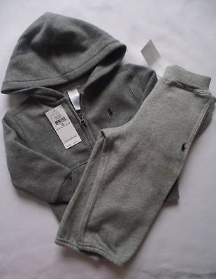 NEW Ralph Lauren Boys Grey Hoody Joggers Outfit Tracksuit Suit 12-18 m