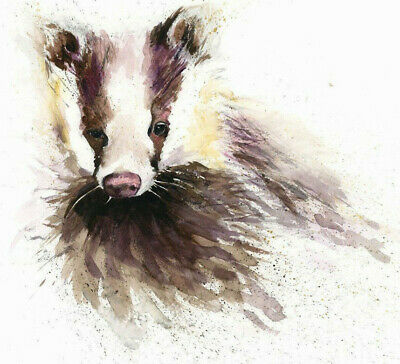 HELEN ROSE Limited Print BROCK the BADGER animal art watercolour painting 321