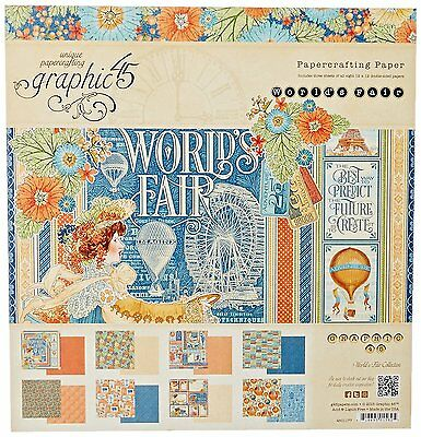 """GRAPHIC 45 WORLD'S FAIR 12""""x12"""" Paper Pad 24 sheets  4501177  R"""