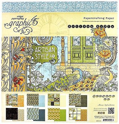 """GRAPHIC 45 ARTISAN STYLE 12""""x12"""" Paper Pad 24 sheets  4501114  R"""