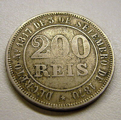 1871 Brazil 200 Reis Coin     2 available