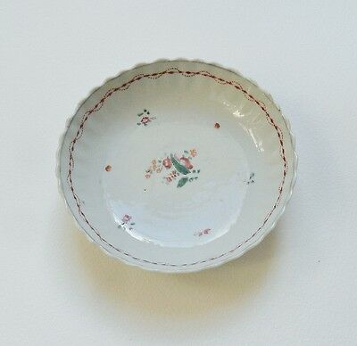 Chinese Porcelain Saucer c 19th Century Hand Painted Red Green Floral Pin Dish