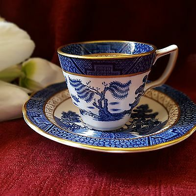 Booths real old willow demitasse cup and saucer duo rare excellent