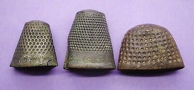 Group of 3 Medieval bronze thimbles 15th century AD