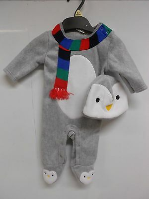 F&F Baby 2 piece Christmas Penguin fleece All-in-one Babygrow & hat