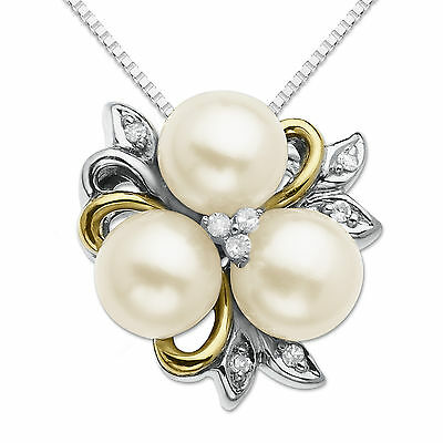 Freshwater Pearl Flower Necklace with Diamonds in Sterling Silver and 14K Gold