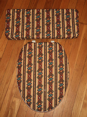 Southwest Turquoise Brown  Bathroom Decor .. Toilet Seat & Tank Lid Cover Set