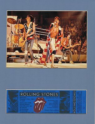 Rolling Stones Concert Ticket Replica Candlestick Park 1981 Matted Picture