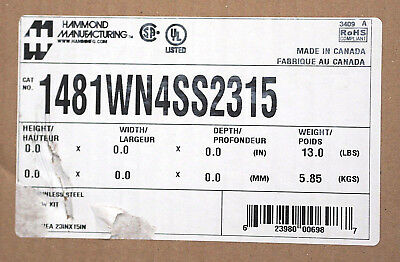 HAMMOND 1481WN4SS2315 *NEW* 304SS STAINLESS WINDOW KIT Nema 4X,4,12 (25C2)