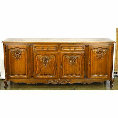 Antique French Country Louis XV Carved Quarter Sawn Oak Buffet Sideboard 4 Door