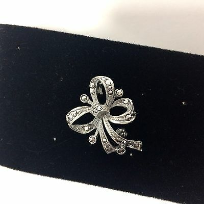 Marcasite Sterling Silver German Brooch Bow Shaped Hallmarked E Vintage Pin .925