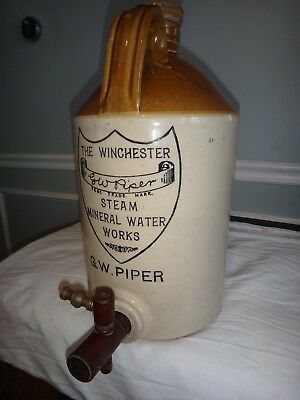 Antique Stoneware Jug Winchester Steam Mineral Waterworks Advertising Two Sided