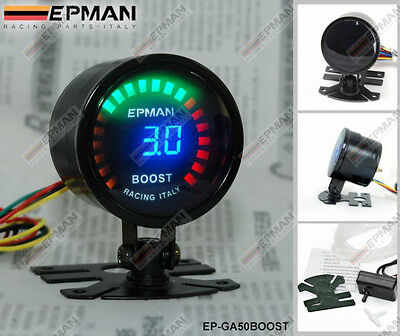 "EPMAN RACING 52mm 2"" ANALOGICO DIGITALE LED TURBO CALIBRO DI SPINTA METRO"