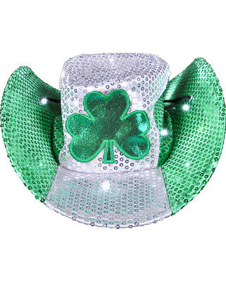 Saint Patrick's Day Light Up Sequin Shamrock Cowboy Hat Costume Accessory