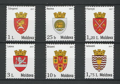 """Moldova 2017 """"Local Coats of Arms"""" 6 MNH stamps"""