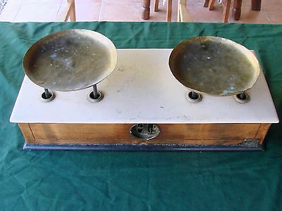Antique French Counter Top Shop Kitchen Scales Vintage Brass Wood Kitchenalia