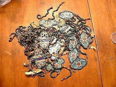 Huge Lot Of Chinese Enamel Lamp Plaques and Glass Beads