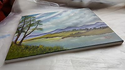 Original Oil Painting On Canvas (16 by 20 inches): Western Lake