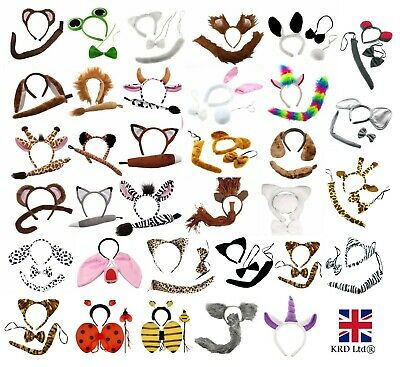 ANIMAL EARS BOW TAIL SET Halloween Costume Fancy Dress Accessory Kids Adults Kit