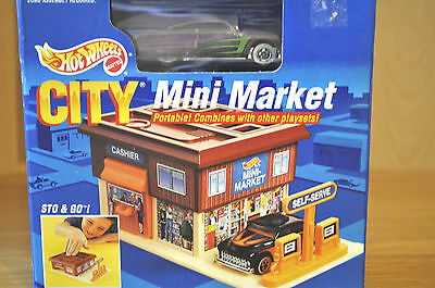 Hot Wheels Vintage 1990 Mni Market Sto And Go Playset Exclusive Car Sealed