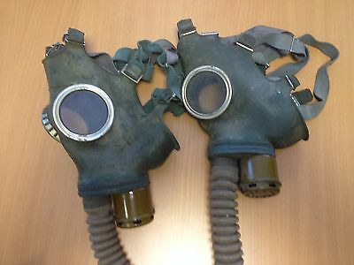 WW2  DIRTY TWO Gas Masks GP-4 ONLY Russia New Vintage RUBBER ORIGINAL GIFT