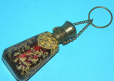 Antique Bohemian French Enameled Cranberry Glass Scent Perfume Bottle Chatelaine