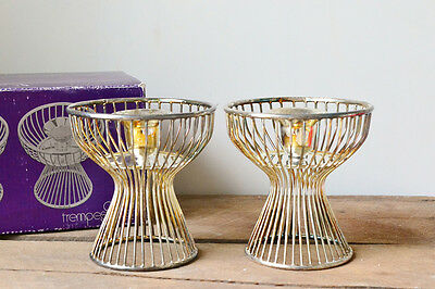 Vintage Mid Century Silver Plated Candle Holders with Original Box