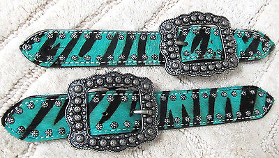 Showman Teal zebra Cowhide w/Brushed Nickle Studs and Buckle Ladies Spur Straps