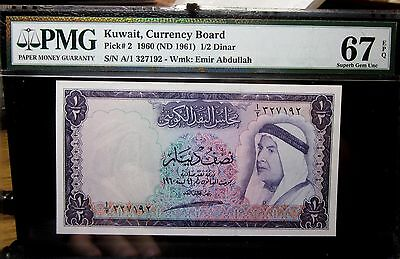1960 Kuwait Currency Board 1/2 Dinar ✪ Pmg Gem-67-Epq ✪ P-2 1961 Nd A1◢Trusted◣