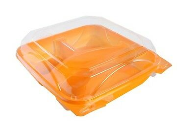 Case of 200 The Bottle Box 8×8″ BB Hinged 3 Comp Tangerine/Clear Food Containers