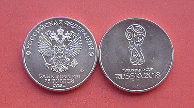 Russia 2016 2018 FIFA World Cup Russia 25 Rubles Cupro-nickel Coin UNC